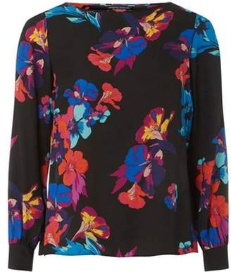 Dorothy Perkins Womens Black Floral Print Wrap Back Long Sleeve Top