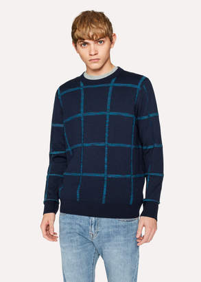 Paul Smith Men's Reversible Navy Textured Check Merino-Cotton Sweater