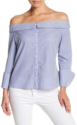 Socialite Off-the-Shoulder Striped Blouse $52 thestylecure.com