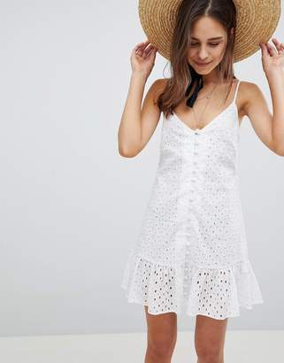 Asos DESIGN Cami Button Through Broderie Mini Sundress with Ruffle Hem