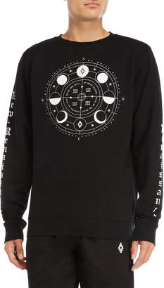 Marcelo Burlon County of Milan Black Menel Graphic Crew Neck Fleece Sweatshirt