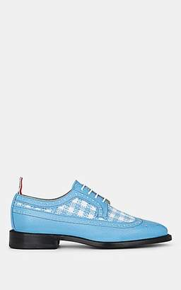 Thom Browne Women's Grained Leather & Tweed Brogues - Blue