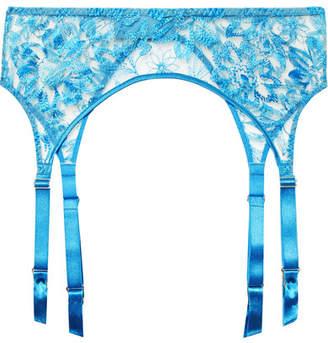 Myla Columbia Road Embroidered Tulle Suspender Belt - Azure