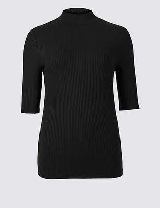 Marks and Spencer Textured Funnel Neck Half Sleeve T-Shirt