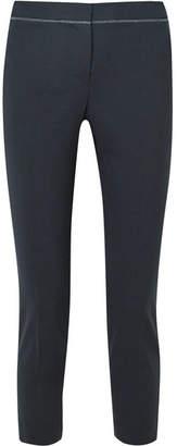 Brunello Cucinelli Tropical Cropped Embellished Wool-blend Slim-leg Pants - Navy