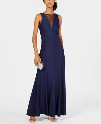 Night Way Nightway Petite Metallic Ribbed-Knit Gown