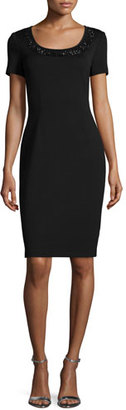 St. John Collection Milano Knit Sequined Sheath Dress, Caviar/Jet $1,295 thestylecure.com
