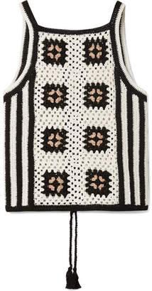Eleven Paris SIX - Alexia Tie-back Crocheted Pima Cotton Tank - White