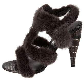 Salvatore Ferragamo Larix Mink & Python Sandals w/ Tags