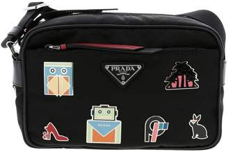 Prada Mini Bag Camera Bag In Nylon And Leather With Maxi Applications By