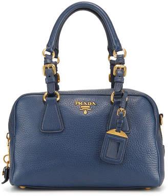 ef0fd37661b838 Prada Preowned Vitello Daino Boston Pebbled Leather Satchel Bag