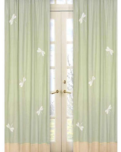 JoJo Designs Sweet Green Dragonfly Dreams Collection Window Panels - Set of 2