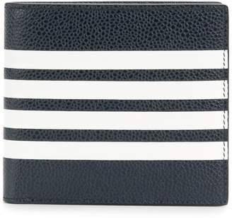 Thom Browne Billfold With Contrast 4-bar Stripe In Pebble Grain & Calf Leather