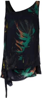 M·A·C Mara Mac foliage print asymmetric top