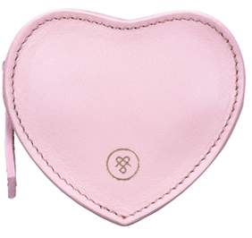 Maxwell Scott Bags Blush Pink Nappa Leather Heart Shaped Coin Purse