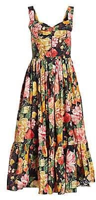 1a06f8b835 Dolce   Gabbana Women s Sleeveless Poplin Bustier Ruffle Hem Dress