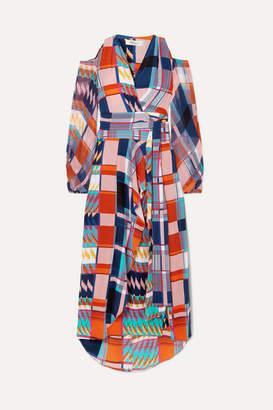 Diane von Furstenberg Lyra Printed Silk Crepe De Chine Wrap Maxi Dress - Purple