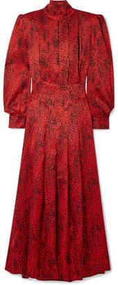 Alessandra Rich Leopard-print Silk-jacquard Maxi Dress - Red