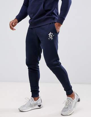 Gym King skinny joggers in navy with logo