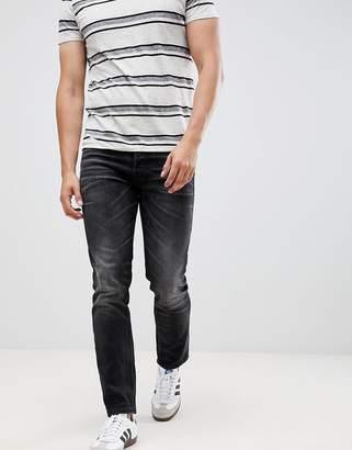 Jack and Jones Slim Fit Black Denim Turn Up Jeans