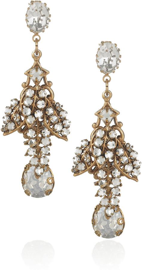 Bijoux Heart Parfait 24-karat gold-plated Swarovski crystal earrings