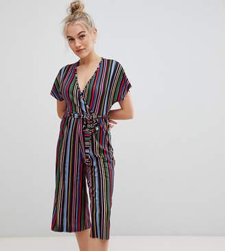 New Look Petite stripe jumpsuit in black pattern