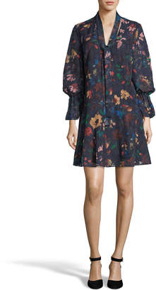 Label By 5twelve Sheer Floral Peasant-Sleeve Sheath Dress