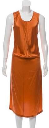 Saint Laurent Sleeveless Silk Midi Dress
