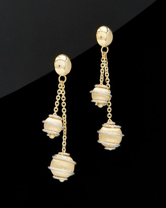 Italian Gold 14K Two-Tone Diamond Cut & Swirl Double Bead Earrings