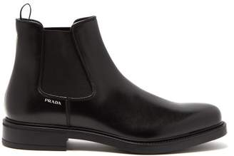 Prada Leather Chelsea Boots - Mens - Black