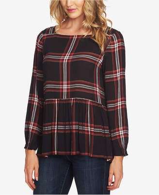 CeCe Plaid Peplum Top