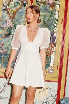Nasty Gal Womens Organza Off Babe Puff Sleeve Mini Dress - White - 18