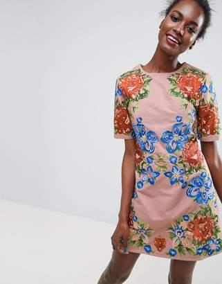 Asos Premium Embroidered Shift Mini Dress