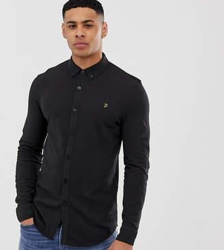 Farah Kompis slim fit pique jersey shirt in black Exclusive at ASOS