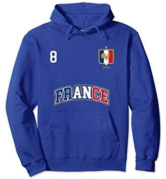 France Hoodie Number 8 Soccer Team Sports French Flag Shirt