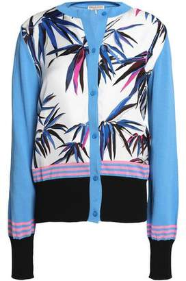 Emilio Pucci Paneled Cotton And Printed Silk-Twill Cardigan