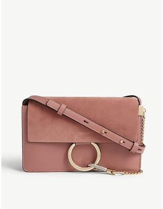 Chloé Faye leather and suede clutch