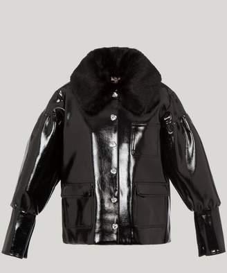 Shrimps Liam Faux Patent-Leather Jacket