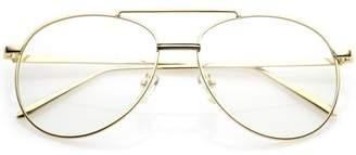 2432019499f6c clear sunglassLA Classic Metal Aviator Eye Glasses Double Nose Bridge Lens  55mm (Gold