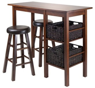 Winsome Wood Egan 5pc Table w/ Cushioned Counter Stools and 2 Baskets