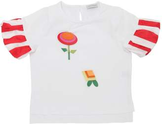 Flower Appliqués Cotton Jersey T-Shirt