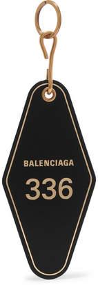 Balenciaga Hotel Printed Leather Keychain - Black