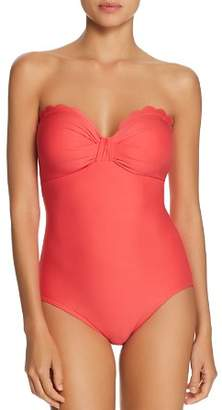 Kate Spade Scalloped Bow Bandeau One Piece Swimsuit
