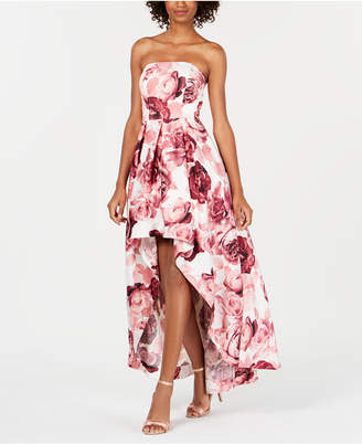 Speechless Juniors' Floral Strapless High-Low Gown