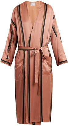 ASCENO Striped sandwashed-silk robe