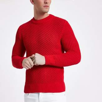 River Island Red slim fit long sleeve knitted sweater
