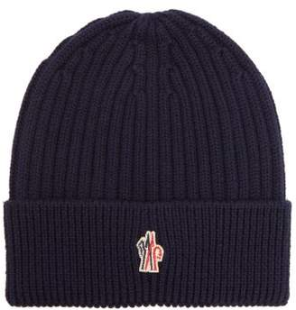 Moncler Logo Embroidered Wool Beanie Hat - Mens - Blue