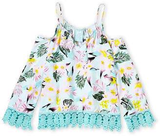 Flowers by Zoe Girls 7-16) Tropical Cold Shoulder Blouse