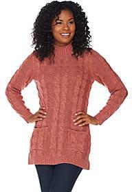 Denim & Co. Marled Long Sleeve Mock NeckTunic Sweater