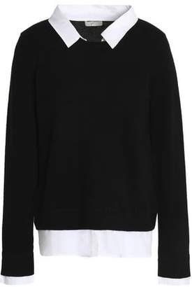 Joie Rika Cotton Poplin-Trimmed Wool And Cashmere-Blend Sweater